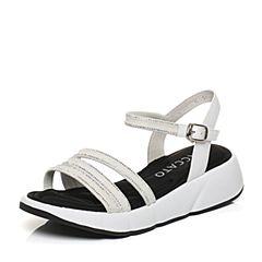 STACCATO/思加图夏季专柜同款白色女皮凉鞋K2101BL7