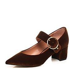 STACCATO/思加图2017年秋季专柜同款深咖色布面玛丽珍鞋9YD15CQ7