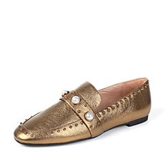 STACCATO/思加图秋季专柜同款铜色牛皮休闲女皮鞋9D907CM7
