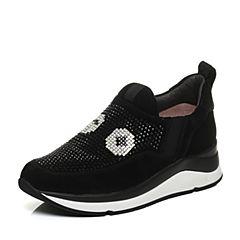 STACCATO/思加图秋季专柜同款黑色羊绒皮休闲女深口鞋9H801CM7
