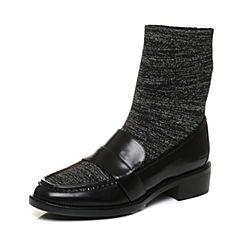 STACCATO/思加图2017年冬季专柜同款黑色小牛皮短筒女皮靴9RA92DZ7