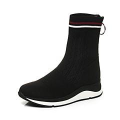 STACCATO/思加图2017年冬季专柜同款黑色编织帮面女靴袜靴9H803DZ7