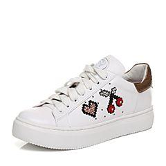STACCATO/思加图秋季白色牛皮水钻樱桃小白鞋女鞋9D615CM7