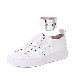 STACCATO/思加图秋季专柜同款白色牛皮简约小白鞋9J913CM7