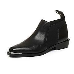 STACCATO/思加图冬季专柜同款黑色打蜡胎牛皮女皮鞋靴9I701DM7