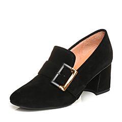 STACCATO/思加图2017年秋季专柜同款黑色羊绒皮女皮鞋9H507CM7