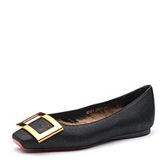 STACCATO/思加图秋季专柜同款黑色磨砂牛皮女浅口皮鞋Q3101CQ7