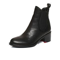 STACCATO/思加图2017年冬季专柜同款黑色打蜡胎牛皮女皮靴9I501DD7