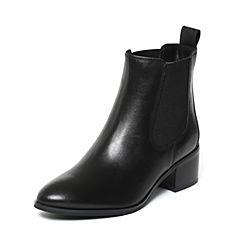 STACCATO/思加图2017年冬季专柜同款黑色打蜡牛皮女皮靴9XY07DD7