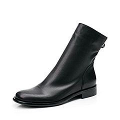 STACCATO/思加图2017年冬季专柜同款黑色牛皮短筒女皮靴Q9101DD7