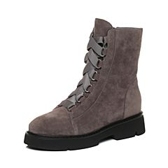 STACCATO/思加图2017年冬季专柜同款灰色羊绒皮女皮靴R7101DD7