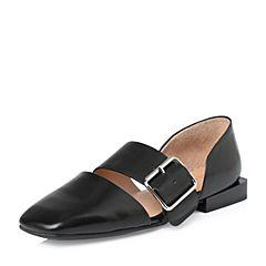 STACCATO/思加图2018年春季专柜同款黑色牛皮女皮凉鞋9K907AK8