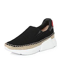 STACCATO/思加图2018年春季专柜同款黑色网布满帮女皮鞋9H825AM8