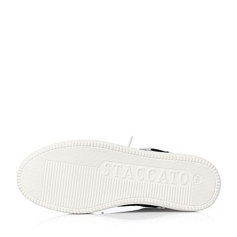 staccato/思加图2018春专柜同款布面黑白嘴唇装饰休闲
