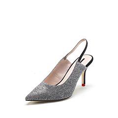 STACCATO/思加图2018年春专柜同款银色亮片布后空尖头高跟鞋9I210AH8