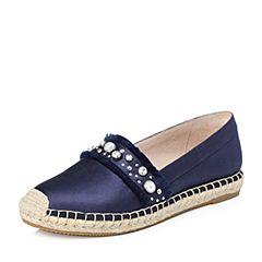 STACCATO/思加图2018年春季专柜同款深蓝色真丝布面满帮女单鞋9UA30AM8