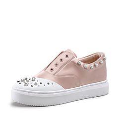 STACCATO/思加图2018年春季专柜同款粉色水钻珍珠装饰女皮鞋9D630AM8