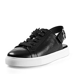 STACCATO/思加图2018年春季专柜同款黑色牛皮简约满帮女皮鞋S1101AM8