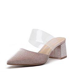 STACCATO/思加图2018年春季专柜同款粉色亮片布格利特穆勒鞋S2101AH8