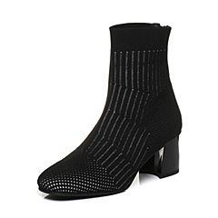STACCATO/思加图2018年春季专柜同款黑色编织帮面短筒女皮靴9H511AD8