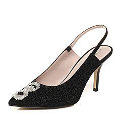 STACCATO/思加图2018年春季专柜同款黑色羊绒皮浅口女凉鞋9I222AH8