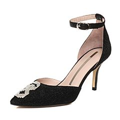 STACCATO/思加图2018年春季专柜同款黑色亮片布浅口女凉鞋9I221AK8