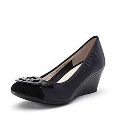 STACCATO/思加图2018年春季专柜同款黑色牛皮拼接坡跟女皮鞋ER973AQ8