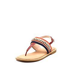 STACCATO/思加图2018年夏季专柜同款深红色民族风织带夹趾女凉鞋9N605BL8