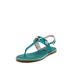 STACCATO/思加图2018年夏季专柜同款绿色真丝布面夹趾女凉鞋9JH13BL8