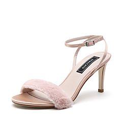 STACCATO/思加图2018年夏季专柜同款粉色毛绒布女皮凉鞋9O905BL8