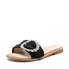 STACCATO/思加图2018年夏季专柜同款黑色布面水钻装饰女凉拖鞋9N603BT8
