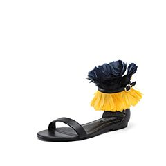 STACCATO/思加图2018年夏季专柜同款绵羊皮革羽毛装饰女皮凉鞋9JH22BL8
