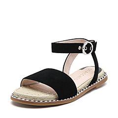 STACCATO/思加图2018年夏季专柜同款黑色羊绒皮革女皮凉鞋9N902BL8