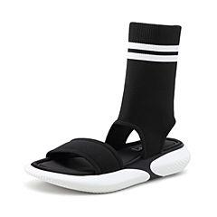 STACCATO/思加图2018年夏季专柜同款黑色高筒飞织运动凉鞋9O101BB8