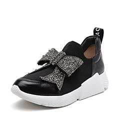 STACCATO/思加图2018年春季专柜同款黑色编织帮面/油皮牛皮革女皮鞋9H834AM8