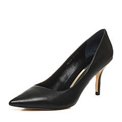 STACCATO/思加图2018年春季专柜同款黑色绵羊皮女浅口皮鞋9I201AQ8