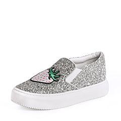 STACCATO/思加图2018年春季专柜同款银色亮片布休?#26032;?#24110;女鞋9D648AM8