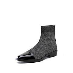 STACCATO/思加图2018年冬季新款拼接漆皮尖头女皮靴9I710DD8