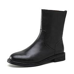 STACCATO/思加图2018冬季新款黑色牛皮革短筒女皮靴N4703DZ8
