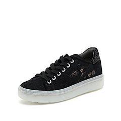 思加图2019春季新款平底水钻系带黑色时尚休闲女满帮鞋子9D658AM9