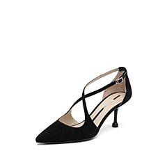 思加图2019春季新款时尚细高跟优雅尖?#33778;?#36136;女后空凉鞋9Y802AK9