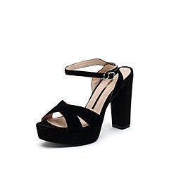 思加图2019夏季新款一字式超高跟粗跟防水台女纯凉鞋9LO21BL9