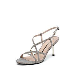 思加图2019夏季新款优雅复古亮片布细高跟女罗马纯凉鞋9VN45BL9