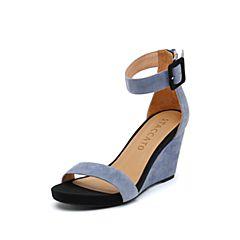 思加图2019夏季新款时尚一字带坡跟简约女纯凉鞋EXX61BL9
