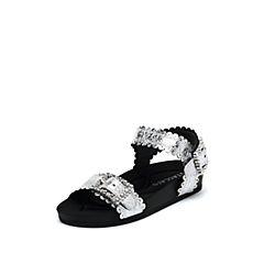 思加图2019夏季新款时尚厚底亮片搭扣一字带女纯凉鞋9A504BL9