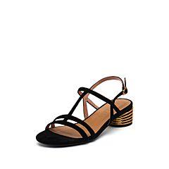 思加图2019夏季新款简约气?#24335;?#23646;搭扣纯色女纯凉鞋9US34BL9