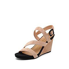 思加图2019夏季新款时尚侧后空坡跟优雅磨砂女纯凉鞋EXX63BL9