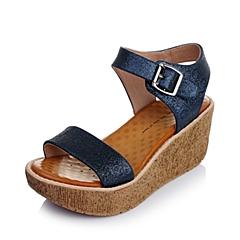 Tata/他她夏季专柜同款兰色亮片布女凉鞋2NT08BL4