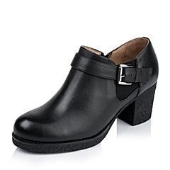 Tata/他她秋季专柜同款黑色小牛皮女单鞋2XD26CM5