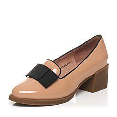 Tata/他她春季专柜同款暗粉牛皮女单鞋2Q901AQ5